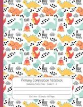 Primary Composition Notebook Handwriting Practice Paper: Dinosaur Journal Blank Dotted Midline and Drawn Space - Grades K-2 School Exercise Book - 8.5