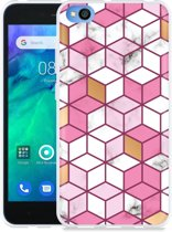 Xiaomi Redmi Go Hoesje Pink-gold-white Marble