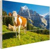 Zwitserse Koeien Hout 80x60 cm - Foto print op Hout (Wanddecoratie)