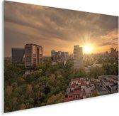 Zonnestralen schijnen over Mexico-stad Plexiglas 120x80 cm - Foto print op Glas (Plexiglas wanddecoratie)