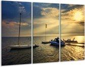 Canvas schilderij Boot | Geel, Grijs, Wit | 120x80cm 3Luik