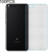 Let op type!! 100 PCS Carbon Fiber materiaal Skin sticker terug beschermende film voor Xiaomi Redmi Note 6