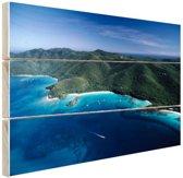 Caribisch eilandkust  Hout 30x20 cm - klein - Foto print op Hout (Wanddecoratie)