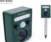 Pest Tech™ PT-226 - Ultrasone Kattenverjager. Werkt op zonne-energie met oplaadbare batterijen (incl). Verdrijft ongedierte, katten, honden, ratten, muizen, vossen, vleermuizen, wasberen en steenmarters. Inclusief USB Charger.