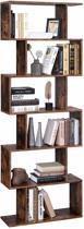 Boekenkast met Open Schappen – Boekenrek of Kast voor Boeken en Planten met 6 Vakken – 190,5 cm Hoog – Vintage Bruin