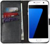 Selencia Echt Lederen Booktype Samsung Galaxy S7 hoesje - Zwart
