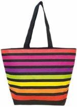 Damestas strandtas Playa Matira met strepen print 58 cm - Dames handtassen - Shopper - Boodschappentassen