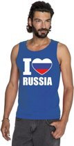 Blauw I love Rusland supporter singlet shirt/ tanktop heren - Russisch shirt heren 2XL