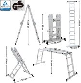 SONGMICS | Multifunctionele Grote Aluminium ladder met 2 Gratis Anti-Slip Steigerplaten | Geschikt voor maximaal 150 kg | Steiger Ladder | TÜV Rheinland GS gecertificeerd | Aluminium