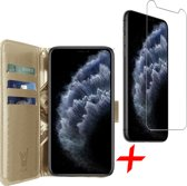 iPhone 11 Pro Max Hoesje + Screenprotector Case Friendly - Book Case Portemonnee - iCall - Goud