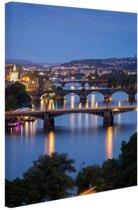 De vele bruggen van Praag Canvas 120x180 - XXL cm - Foto print op Canvas schilderij (Wanddecoratie)