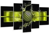 Glasschilderij Abstract | Groen, Zwart | 170x100cm 5Luik | Foto print op Glas |  F004214