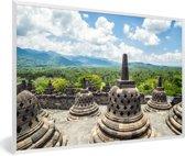 Foto in lijst - Witte wolken boven de Borobudur tempel fotolijst wit 60x40 cm - Poster in lijst (Wanddecoratie woonkamer / slaapkamer)
