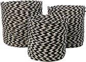 HSM Collection Mandenset - raffia/zeegras - zwart/wit - set van 3