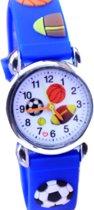 Jongens horloge- Voetbal- Midden Blauw- Gratis batterij- Siliconen