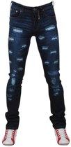 Bravo Jeans - Heren Jeans - Damaged Look - Slim Fit - Stretch - Lengte 32 - Donker Blauw
