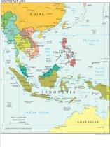 Poster Kaart Zuidoost-Azië - Large 70x50 - Kleur - Landkaart/Atlas - China/Indonesië/Thailand/Australië/Vietnam