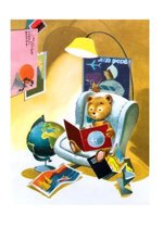 Teddy Bear in Armchair with Globe and Maps Travel Greeting Cards [With Envelope]