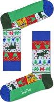 Happy Socks - Happy Holiday - kerstsokken - Fair Isle - blauw multi - Unisex - Maat 41-46