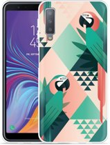 Galaxy A7 2018 Hoesje Exotic Trendy Parrots