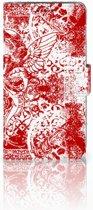 Samsung Galaxy J5 (2015) Bookcase hoesje Design Angel Skull Red