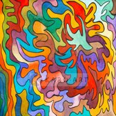 Schilderij - Abstract Aquarel, print op canvas