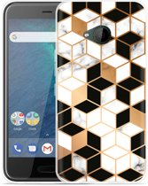 HTC U11 Life Hoesje Black-white-gold Marble