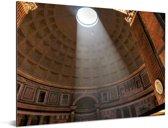 Lichtstraal door de oculusopening in het Pantheon in Rome Aluminium 80x60 cm - Foto print op Aluminium (metaal wanddecoratie)