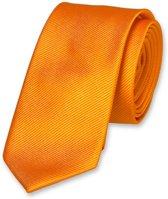 E.L. Cravatte Smalle Stropdas - Oranje - 100% Zijde