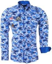 Montazinni - Heren Overhemd - Camouflage - Slimfit - Patches - Navy