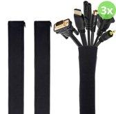 Kabel Organiser – Kabelgoot – Kabel Management – Houder – voor Bureau en TV - Beschermer – 3 Stuks - Zwart