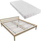 vidaXL Bed met matras massief grenenhout 180x200 cm