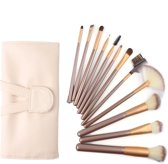 Professionele 12-delige  Beige-goudmake-up kwasten set - Inclusief lederen etui - Cosmetica en Make-up