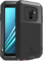 Metalen fullbody hoes voor Samsung Galaxy A6 Plus (2018) / A6+ (2018), Love Mei, metalen extreme protection case, zwart