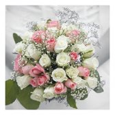 40x Bruiloft/huwelijk thema servetten bruidsboeket 33 x 33 cm - 3-laags papieren wegwerpservetten