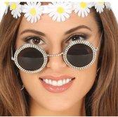 Hippie/flower power verkleed zonnebril - sixties zonnebril met ronde glazen
