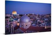 Uitzicht op Jeruzalem en de Heilig Grafkerk na zonsondergang Aluminium 180x120 cm - Foto print op Aluminium (metaal wanddecoratie) XXL / Groot formaat!