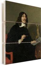 Portret van een kunstenaar - Schilderij van Gerard van Honthorst Vurenhout met planken 60x80 cm - Foto print op Hout (Wanddecoratie)