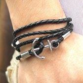 Armband Met Anker Schakelarmband - Heren - Zwart - 21 cm