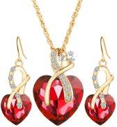 Fashionidea - Mooie goudkleurige ketting en oorbellen met rode harten en zirkonia stenen.