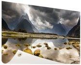 Milford Sound Nieuw-Zeeland Tuinposter 60x40 cm - klein - Tuindoek / Buitencanvas / Schilderijen voor buiten (tuin decoratie) / Zee en Strand