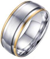 Mannen ring zilver mat met goud-18mm