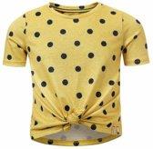 Meisjes t-shirt gestipt geel Looxs