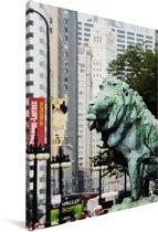 Zijprofiel van de bronzen leeuw van het Art Institute of Chicago op straat Canvas 60x90 cm - Foto print op Canvas schilderij (Wanddecoratie woonkamer / slaapkamer)