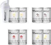 VITAMIN FOOD - 8 zakken / 4 smaken-Vitaminfood®-Soylent-Complete Voeding-27 Vitaminen&Mineralen-Suikervrije,Vegan Maaltijdvervanger-100g ErwtenProteïnen-2xVANILLE & 2xCACAO & 2xAARDBEI & 2xBANAAN + Shaker! 1 zak=450g