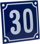 Emaille huisnummer blauw/wit nr. 30 10x10cm