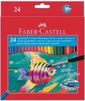 Aquarelpotlood Faber-Castell etui a 24 stuks + penseel