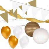 Wit/Gouden feest versiering pakket XXL