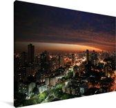 Avond skyline van Curitiba in Brazilië Canvas 90x60 cm - Foto print op Canvas schilderij (Wanddecoratie woonkamer / slaapkamer)