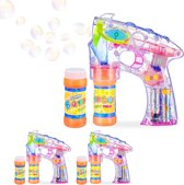 relaxdays 3 x bellenblaas pistool - LED - bellenblaaspistool - bellenblaasmachine